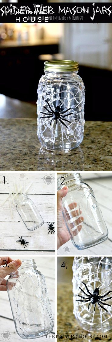 10-Minute Hot Glue Spiderweb Mason Jar