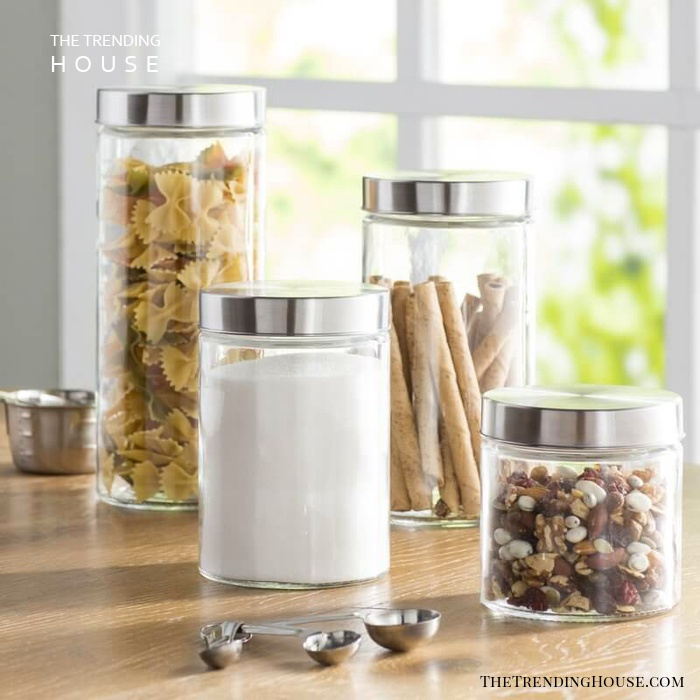 4 Piece Round Kitchen Canister Set