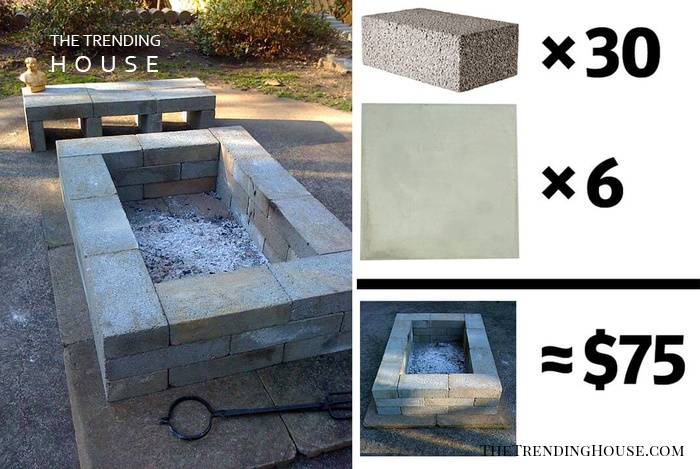 $75 DIY Firepit and Bench