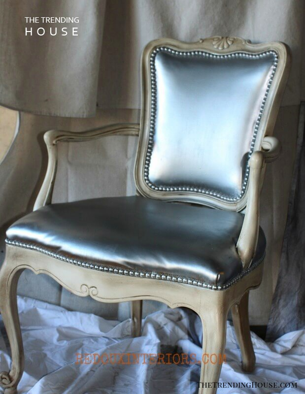 A Doll House Chair with Elegant Silver Fabric