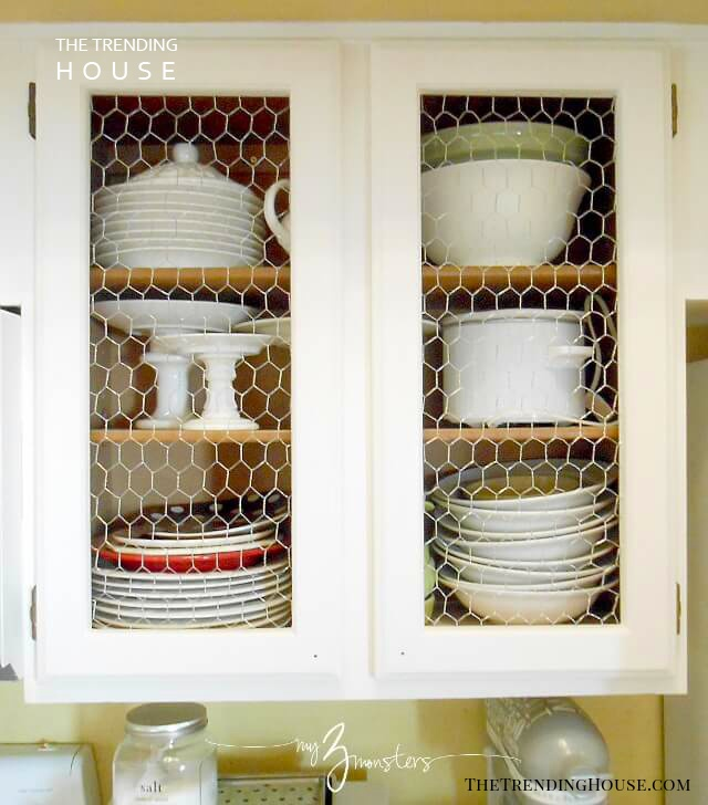 A Kitchen Cabinet Facelift with Chicken Wire