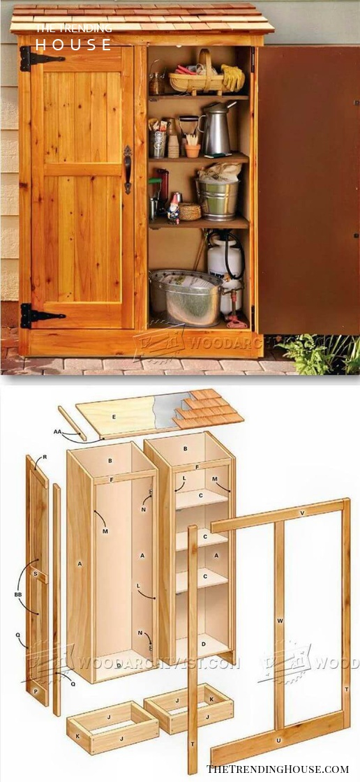 A Wooden Storage Cabinet with Shelves