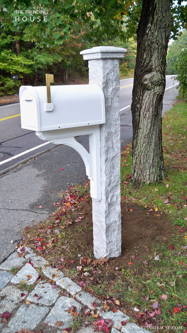 All White with a Granite Post