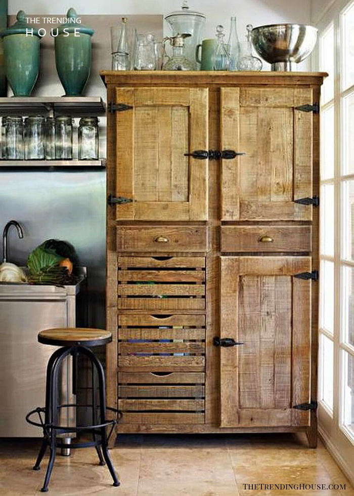 Antique Hardware Repurposed Kitchen Cabinets