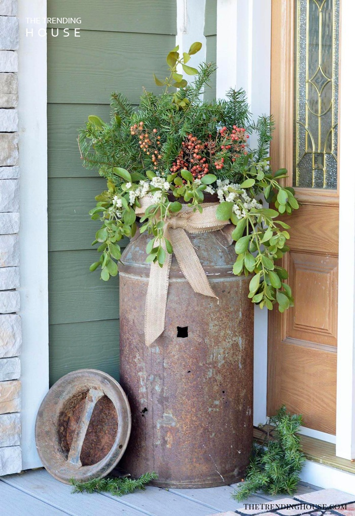Antique Milk Can Porch Planter