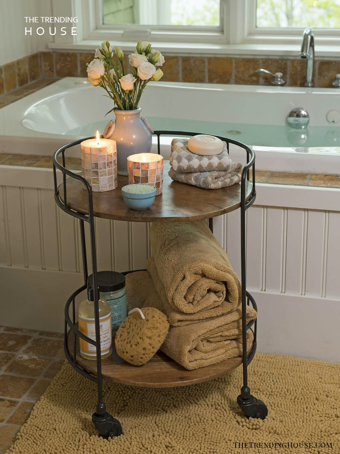 Antique Rolling Toiletry Table