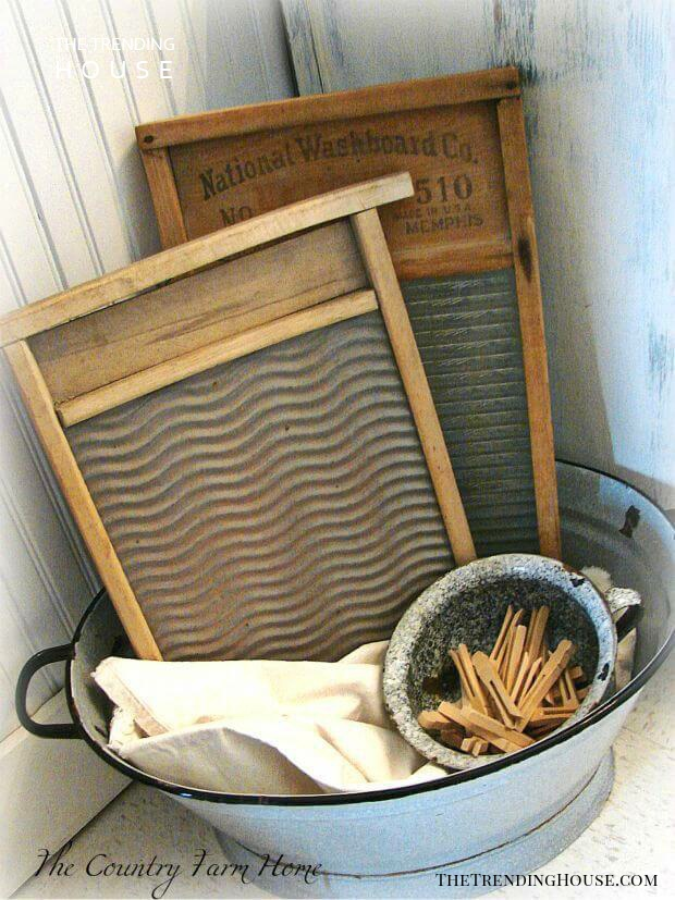 Antique Washboard and Tub Decoration