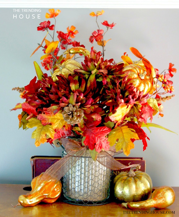 Autumn Hued Floral Arrangement with Metallic Accents