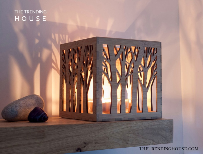 Bamboo Lantern With Tree Carvings