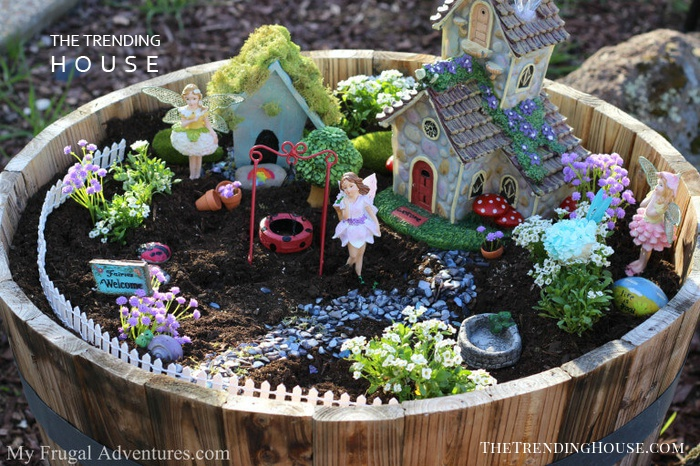 Barrel Planter DIY Fairy Garden