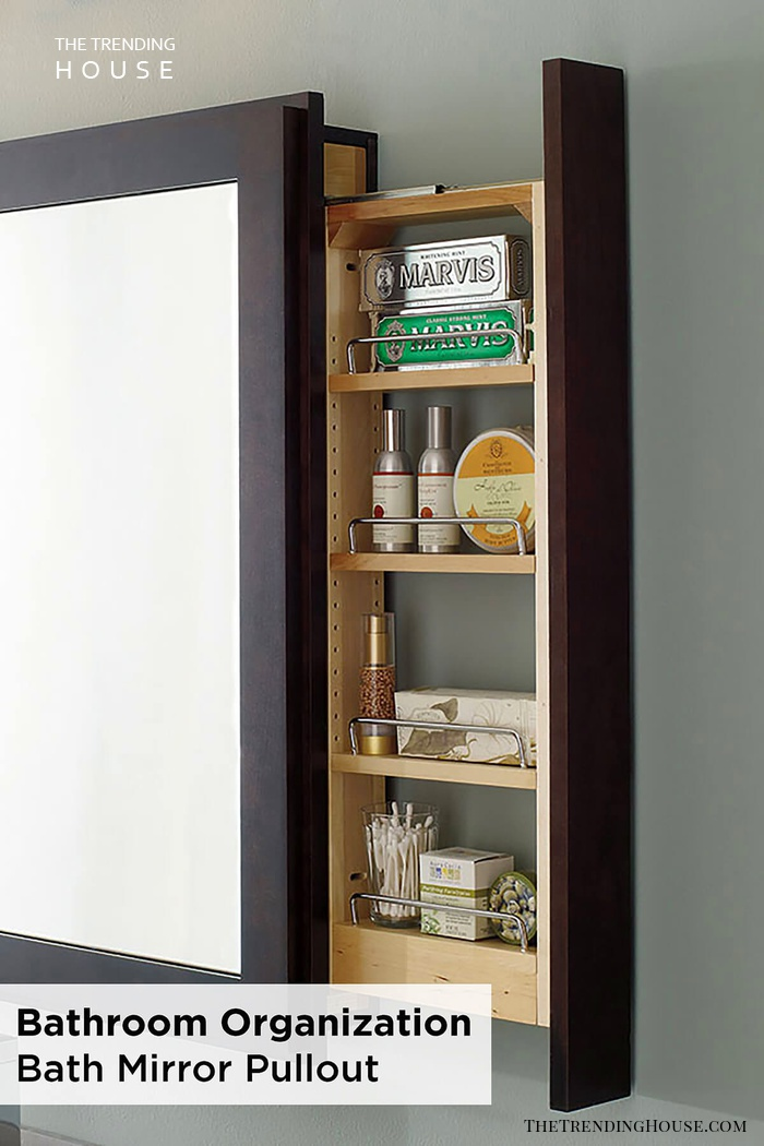 Bath Mirror Pullout Storage