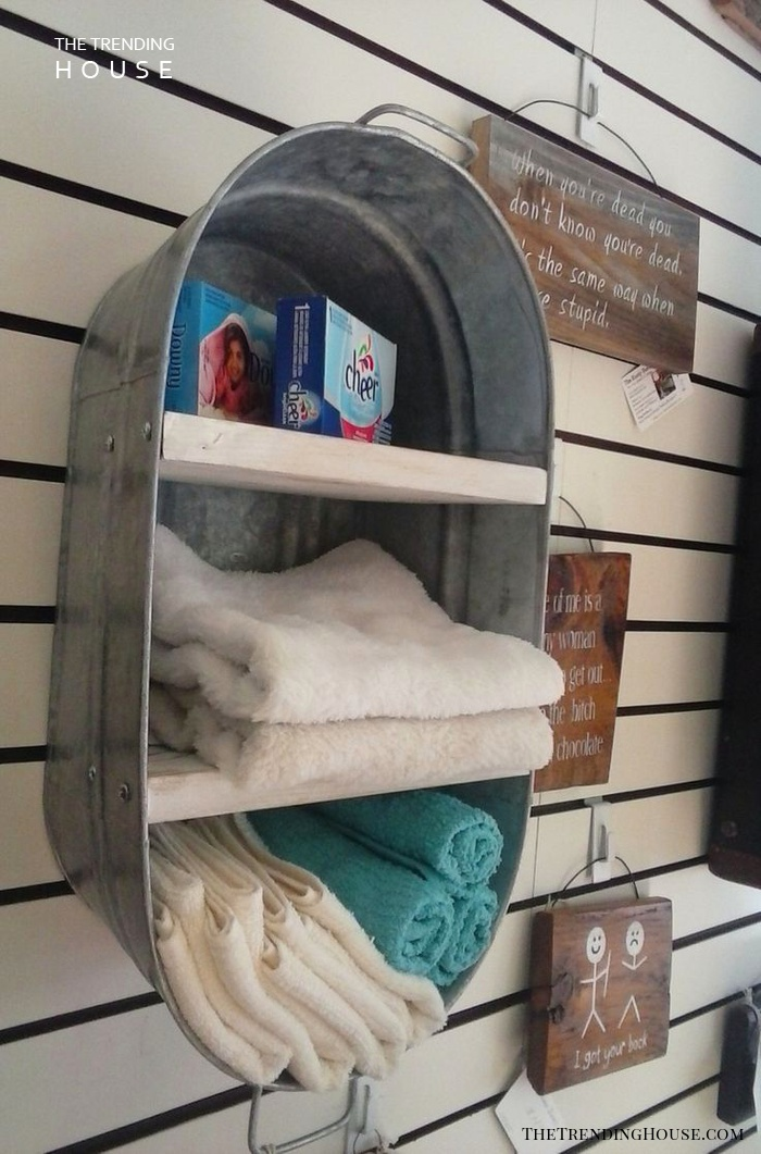 Bathroom Storage Rack from Vintage Washtub
