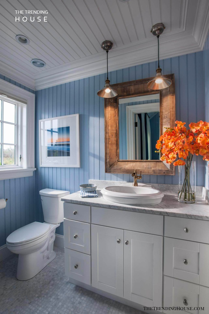 Beachy Blue Wainscoting with Copper Accents
