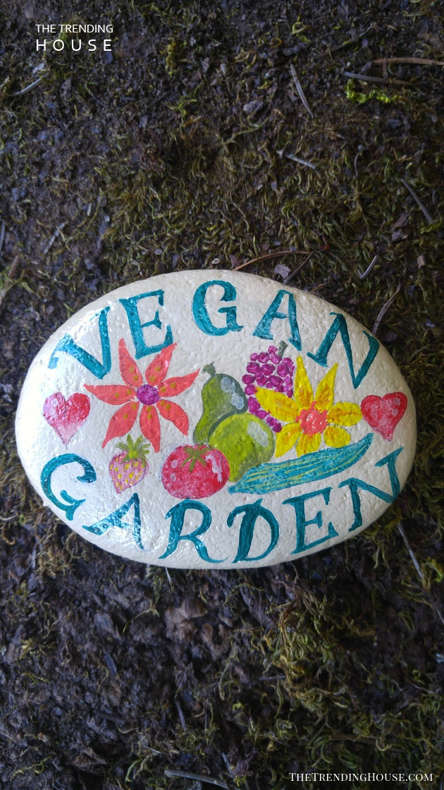 Beautiful Hand-Painted Garden Stone Sign