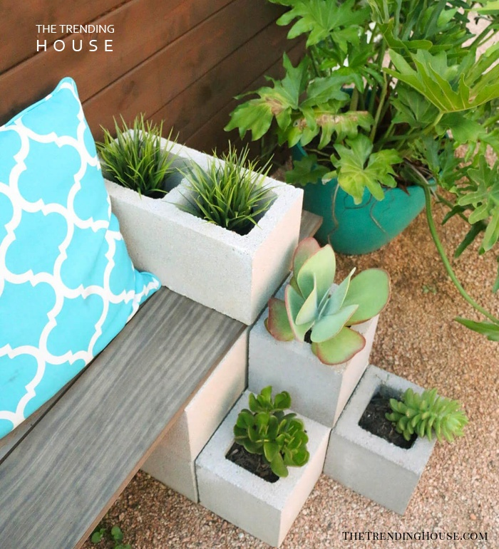 Beautiful Outdoor Succulent Bench Seating
