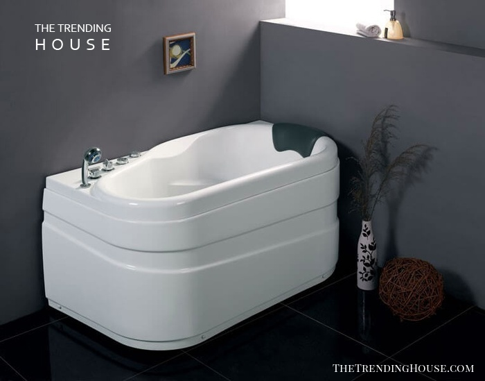 "EAGO AM175-L 5"" White Acrylic Corner Whirlpool Bathtub"