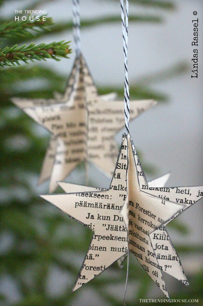 Book Page Star Christmas Ornaments