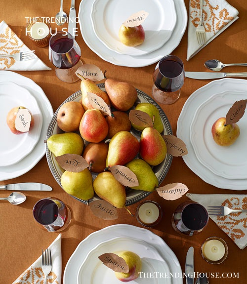 Bountiful Pear Centerpiece with Matching Place Cards