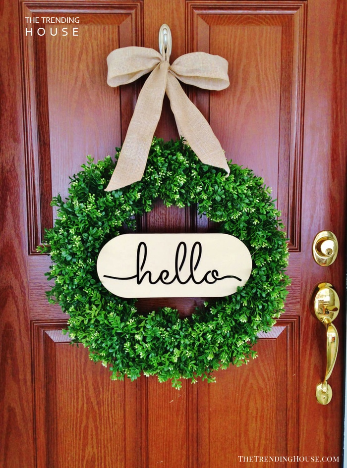 Boxwood Greenery Wreath and Welcome Sign