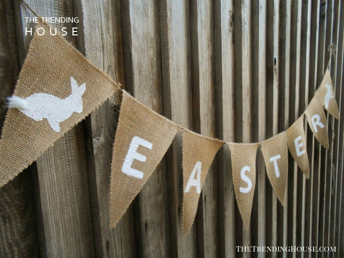 Burlap Easter Pennant Banner with Bunnies