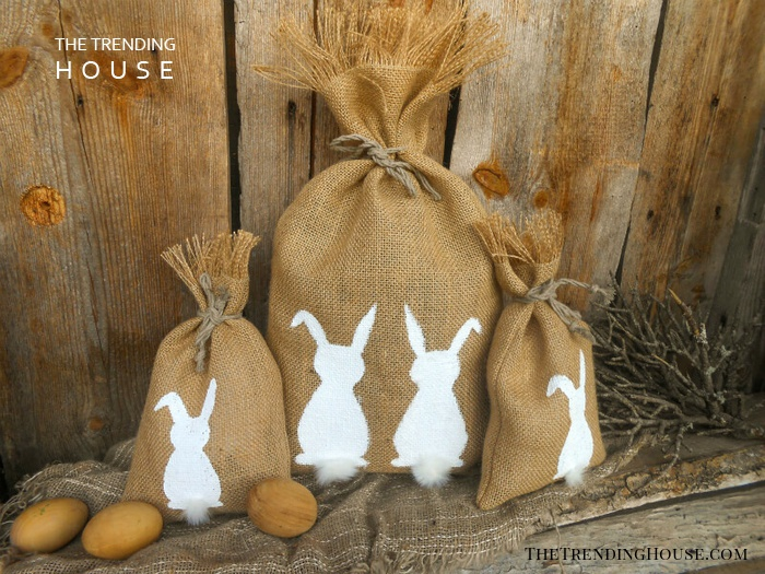 Burlap Gift Bags with Fuzzy Easter Bunny Tails