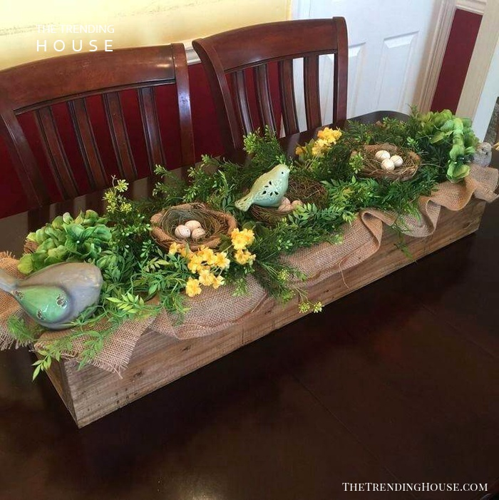 Burlap-lined Wood Box Centerpiece with Nests