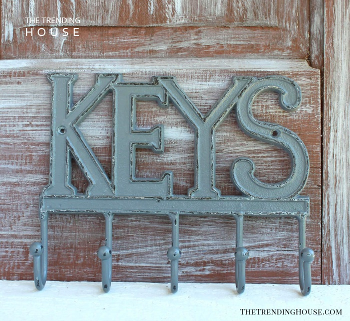Cast Iron Key Rack in Rustic Gray