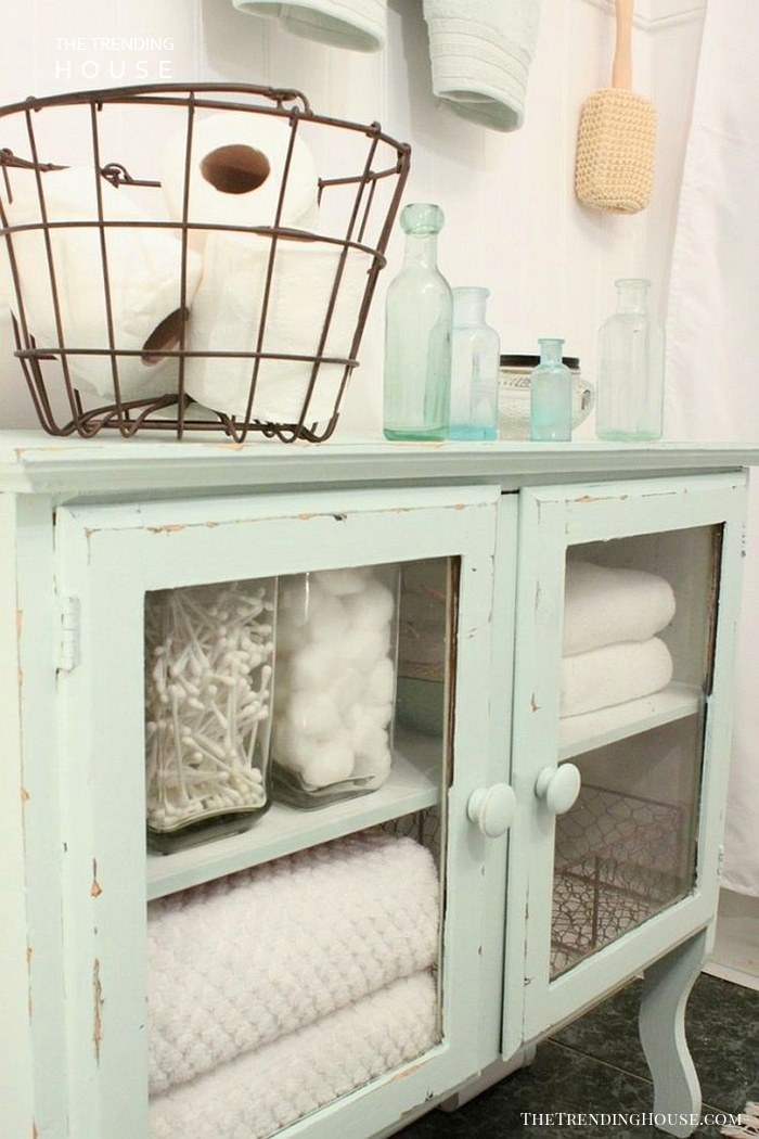 Chalk Painted Bathroom Storage Cabinet