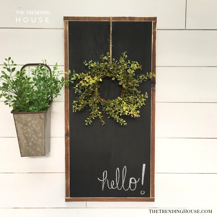 Chalkboard Sign with Hanging Wreath