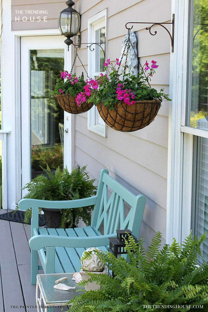 Classic Metal Hanging Baskets with Petunias