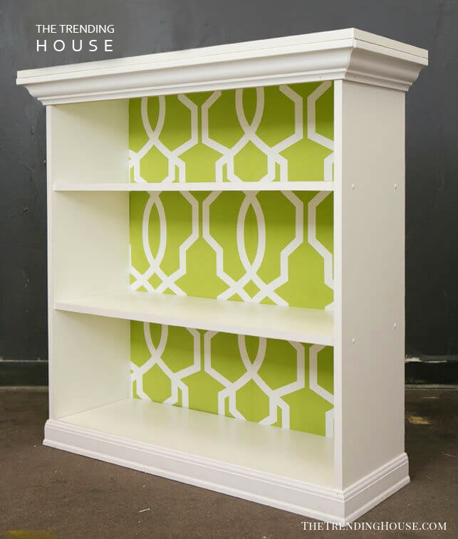 Classic White Storage with Wallpapered Back Panel