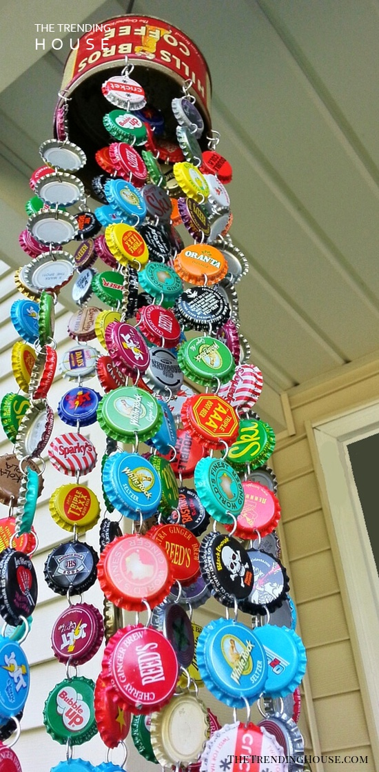 Coffee Tin and Bottle Cap Wind Chime