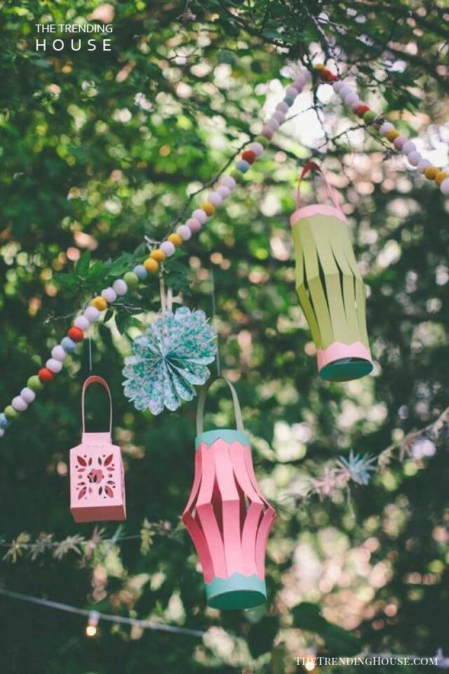 Colorful DIY Construction Paper Lanterns