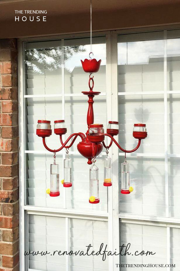 Colorful Hummingbird Feeder and Chandelier