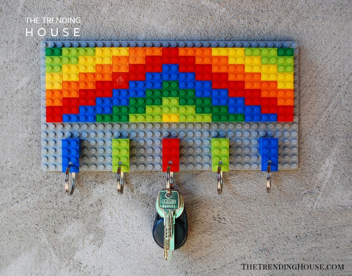 Colorful Key Rack Made from Building Blocks