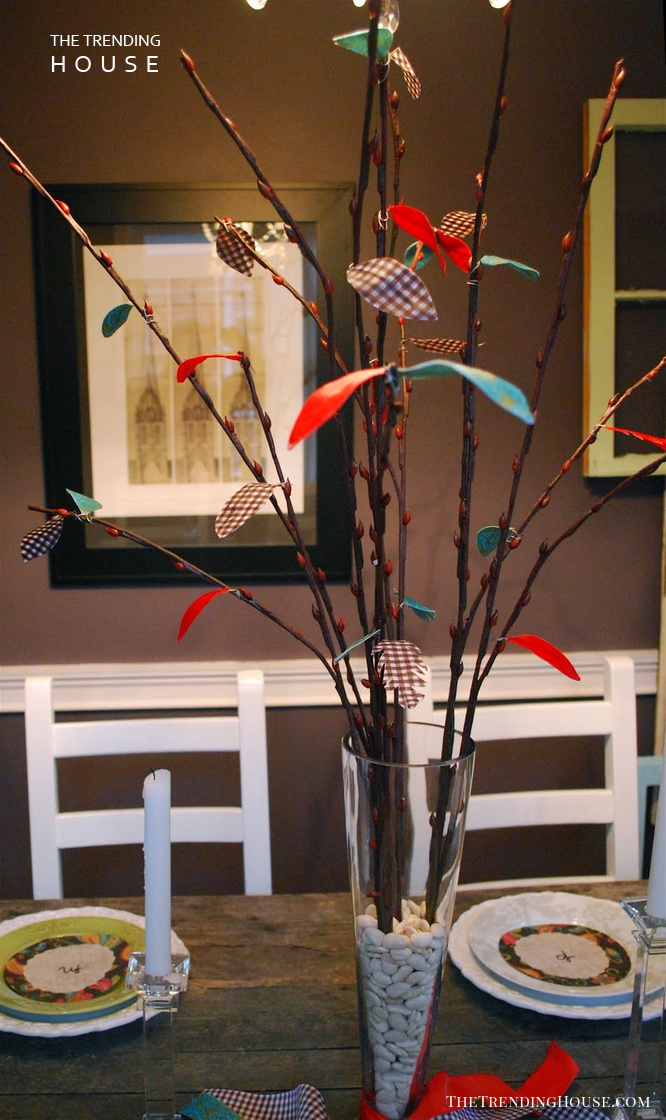 Colorful Tree Branch Centerpiece with Bright Paper Leaves