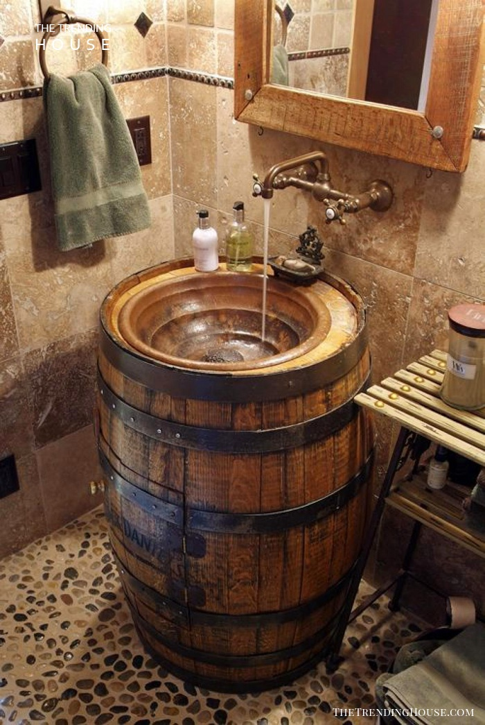 Converted Whiskey Barrel Sink
