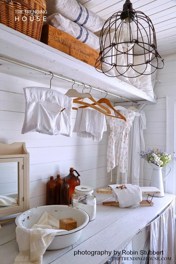 Country White Laundry Room with Hanging Space