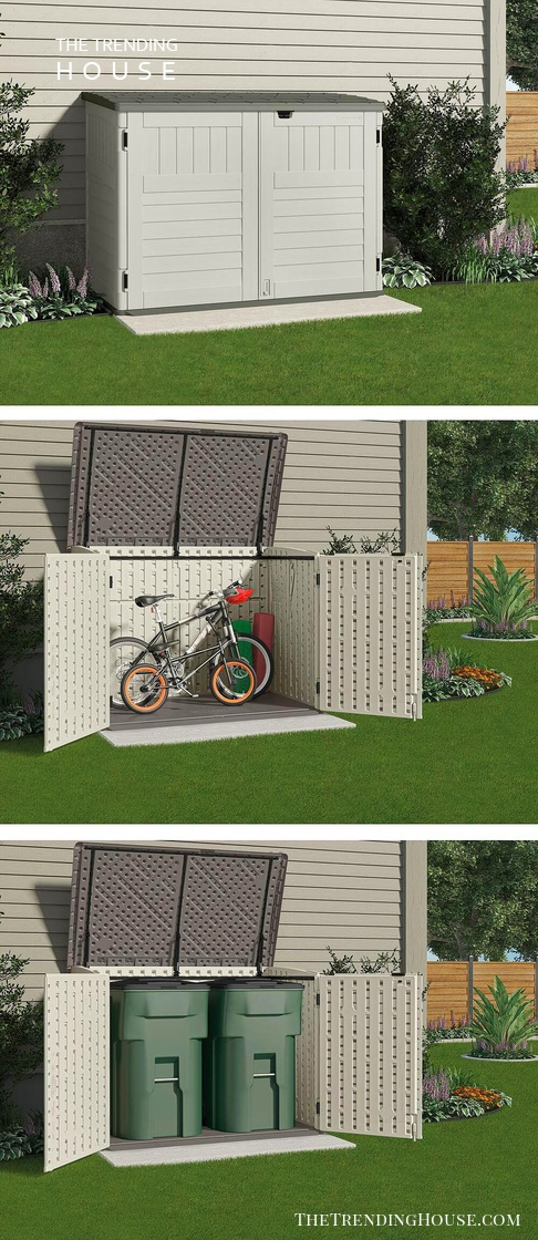 Covered, Two-Door Bike and Trash-Friendly Storage Unit