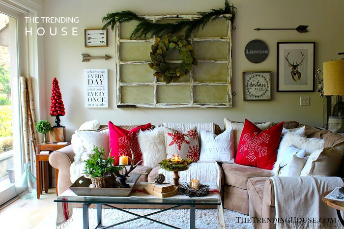 Cozy Couch with an Innovative Wreath