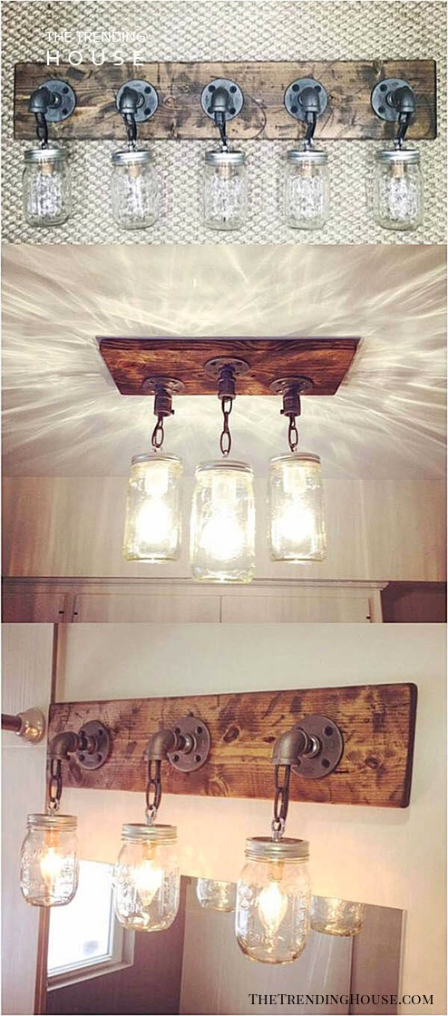 Creative Chandelier Mason Jar Wall Decor Ideas