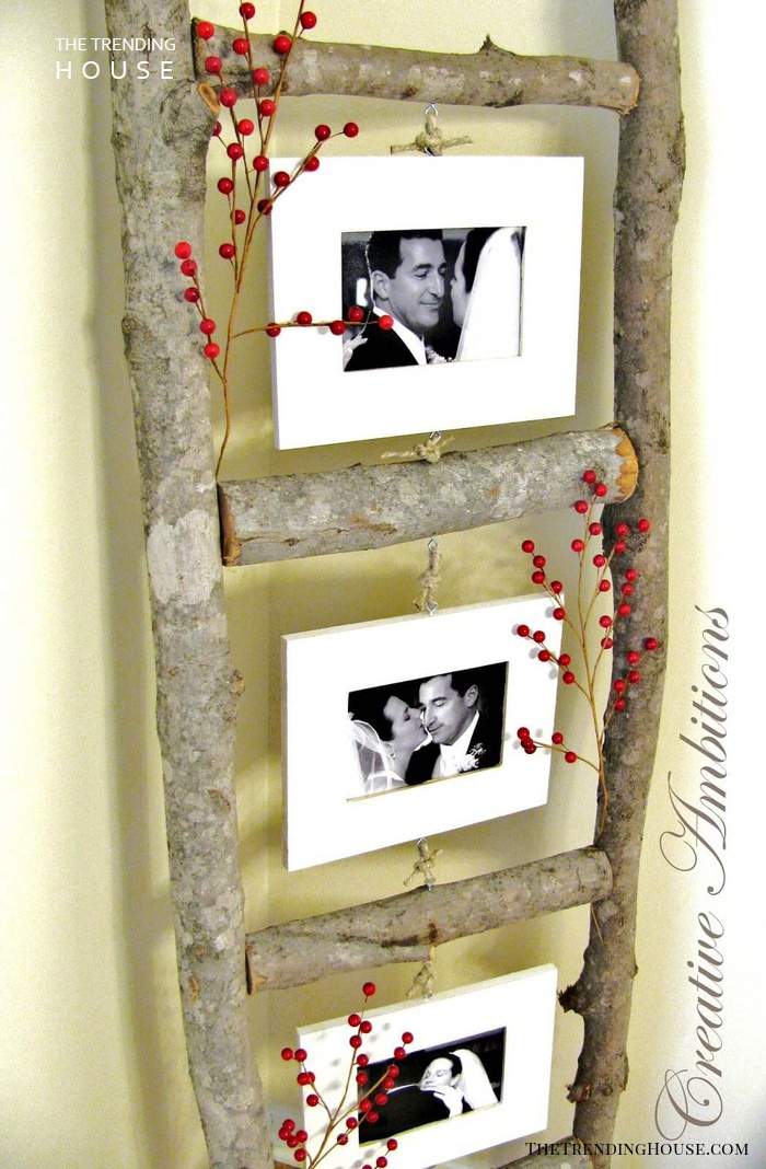 Creative Photo Ladder with Wooden Branches