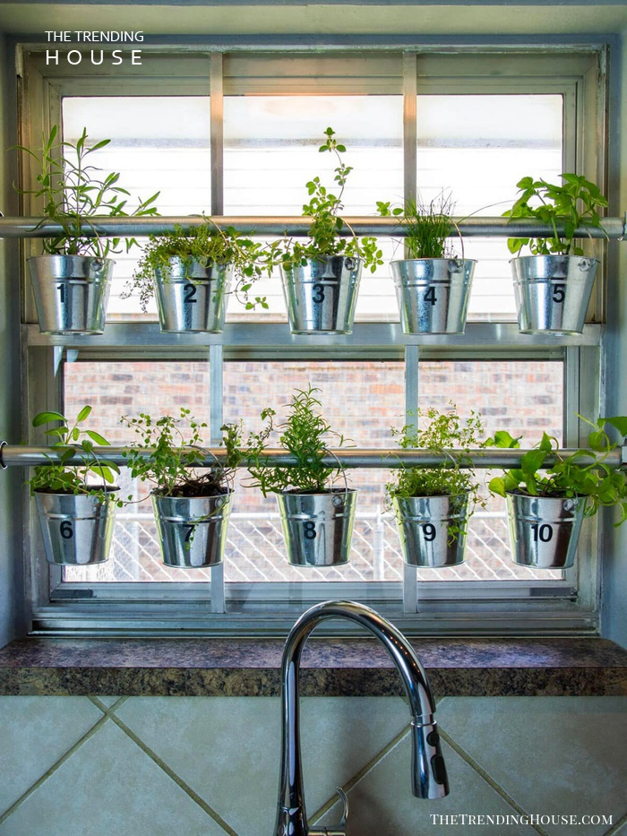 Curtain Rod Hanging Herb Garden