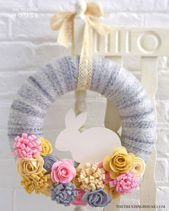 Cute Bunny Wreath with Fabric Flowers