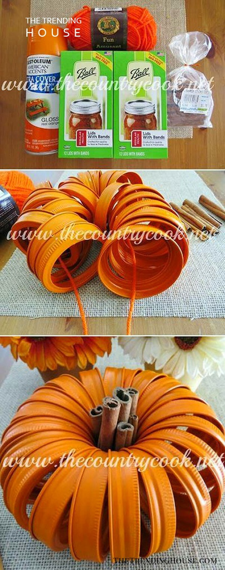 Cute Mason Jar Lid Pumpkin