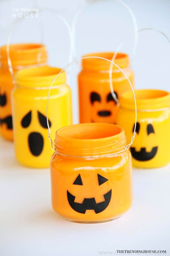 Cute Painted Mason Jar Jack-O-Lanterns