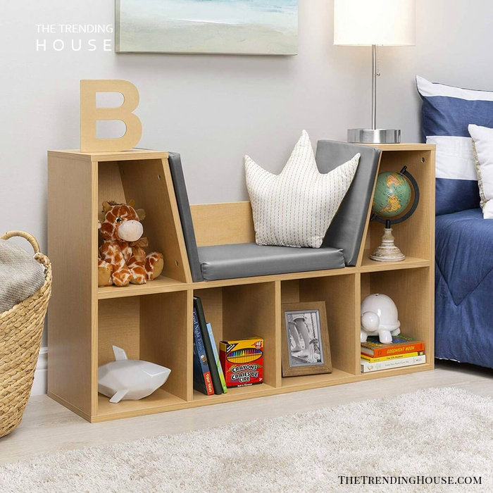 Cute and Practical Reading Nook with Cubbies