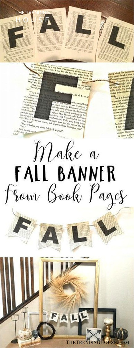 DIY Book Page Fall Banner