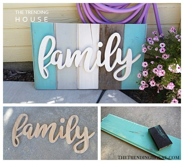 DIY Distressed Wooden Porch Sign