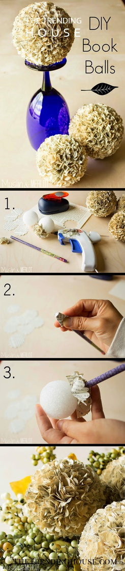 DIY Fluffy Old Book Page Balls